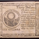 True Dollar Guarantie – A 30 Bill Issued By The Continental Congress For Thirty Spanish Milled Dollars